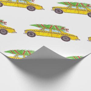 New York Yellow Cab Taxi Christmas tree Wrapping Paper
