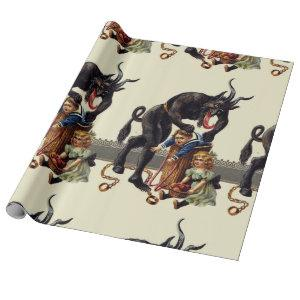 nightmare christmas krampus wrapping paper