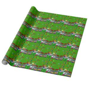 No Such Thing as Too Many Books - Green Background Wrapping Paper