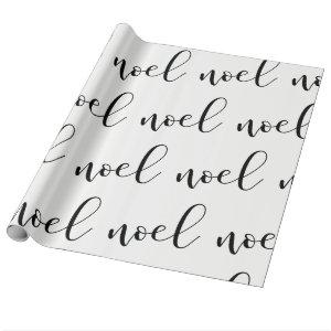 Noel | Black and White Christmas Script Wrapping Paper
