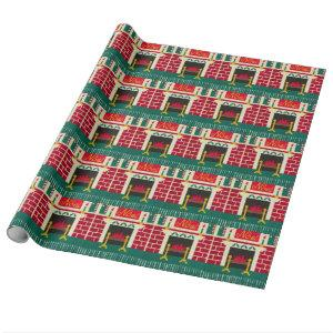 Noel Christmas Fireplace Red Green Gold Crochet Wrapping Paper