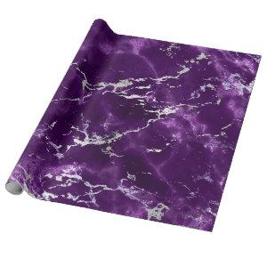 Noir Purple Silver Black Marble Shiny Glam Wrapping Paper
