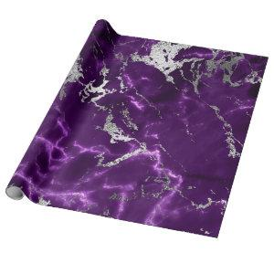 Noir Purple Silver White Marble Shiny Glam Wrapping Paper