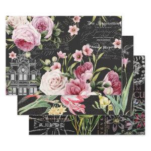 NOIR VINTAGE FLORALS HEAVY WEIGHT DECOUPAGE PRINTS WRAPPING PAPER SHEETS