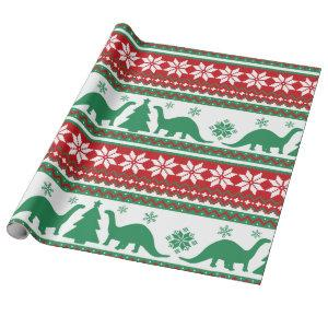 Nordic Fair Isle Brontosaurus Dinosaurs Sweater Wrapping Paper