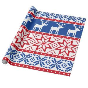 Nordic Reindeer and Snowflakes Wrapping Paper