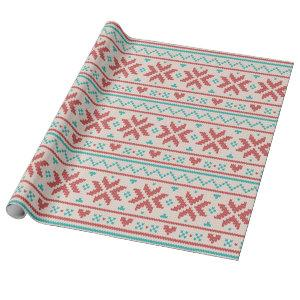Nordic Winter Sweater Faux Knit Aqua & Red Pattern Wrapping Paper