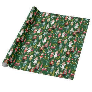 Nutcracker Ballet Characters - green Wrapping Paper