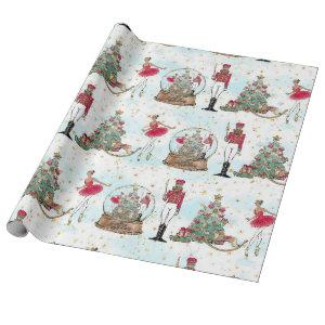 Nutcracker Ballet Snow Globe Christmas Gift Wrapping Paper