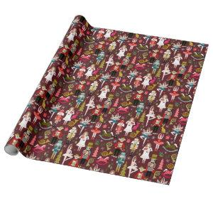 Nutcracker Christmas Characters - burgundy Wrapping Paper