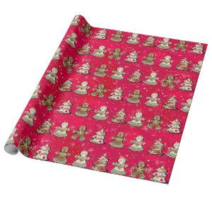Nutcracker Gingerbread Angels Sugar Plum Gift Wrapping Paper