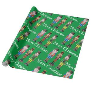 nutcracker merry christmas text colofrul green wrapping paper