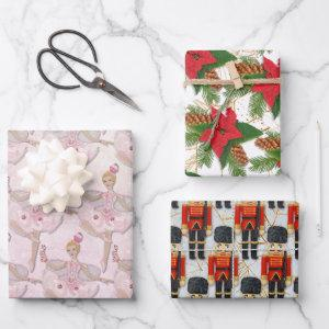 Nutcracker Soldier Sugar Plum Fairy Christmas Wrapping Paper Sheets