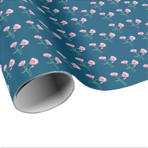 Ocean Blue Wrapping Paper with a Floral Pattern