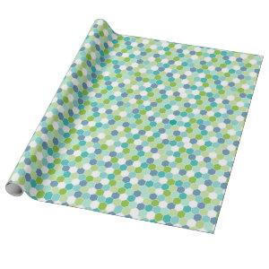 Ocean Blues Honeycomb Geometric Pattern Wrapping Paper