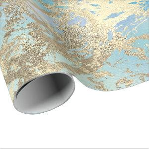 Ocean Gold Marble Pastel Unicorn Urban Abstract Wrapping Paper