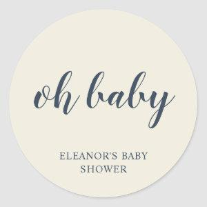 Oh Baby Simple Ivory Boy Baby Shower Favor Classic Round Sticker