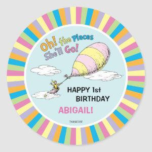 Oh, The Places She'll Go! - First Birthday Classic Round Sticker