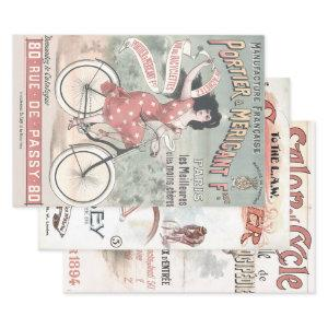 OLD BICYCLE POSTERS HEAVY WEIGHT DECOUPAGE WRAPPING PAPER SHEETS