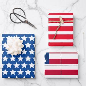 Old Glory Stars and Stripes Wrapping Paper Sheets