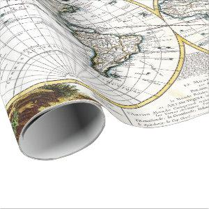 Old map fun party wrapping paper