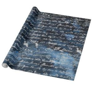 Old Silver Script Navy Blue Wrapping Paper