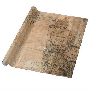 Old Torn Vintage Newspaper One Wrapping Paper