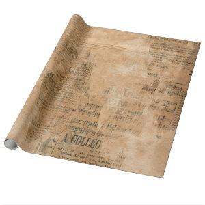 Old Torn Vintage Newspaper Two Wrapping Paper