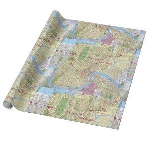Old Vintage Map of New Orleans Wrapping Paper