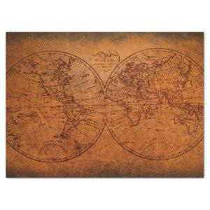 Old World Map Classic Vintage Rustic Design Tissue Paper