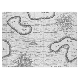 Old World Map Sailing Map on Grey Decoupage Tissue Paper
