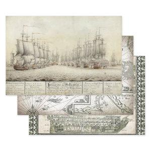 OLD WORLD SHIPS HEAVY WEIGHT DECOUPAGE PRINTS WRAPPING PAPER SHEETS