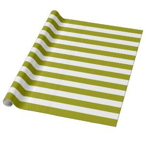 Olive And White Stripes Wrapping Paper / Gift Wrap