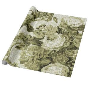 Olive Green Vintage Floral Toile Fabric No.4 Wrapping Paper