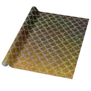 Ombre glitter mermaid scales wrapping paper