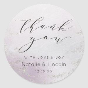 Ombre Lavender Purple Silver Wedding Thank You Classic Round Sticker