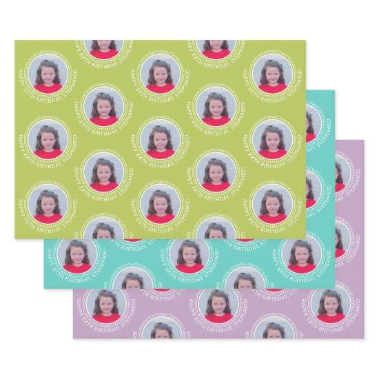 One Photo Happy Birthday Greeting - Multi color Wrapping Paper Sheets