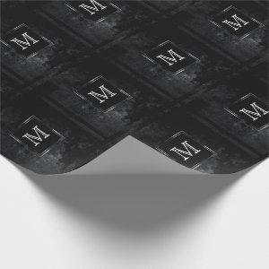 Onyx Party | Monogram Black Charcoal Chalkboard Wrapping Paper