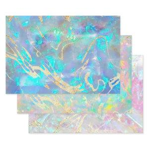 opal gemstone inspired wrapping paper sheets