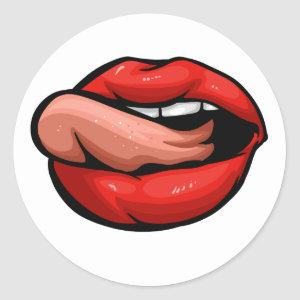Open mouth, tongue touches the lip classic round sticker