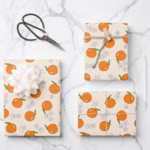 Orange and Flower Pattern Wrapping Paper Sheets