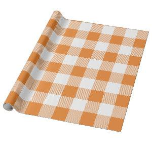 Orange and White Buffalo Plaid Wrapping Paper