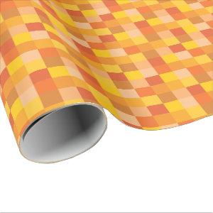 Orange and Yellow Pixelated Pattern | Pixel Art Wrapping Paper