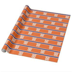 Orange Blue Sports Jersey with Name and Number Wrapping Paper