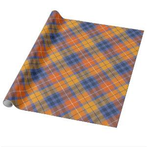 Orange Brown Purple Plaid Wrapping Paper