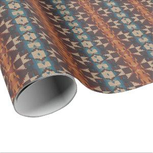 Orange Brown Red Teal Blue Tribal Mosaic Pattern Wrapping Paper