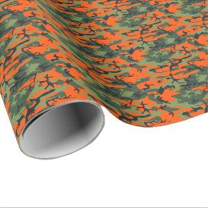 Orange Green Black Hunting Camo Camouflage Wrapping Paper