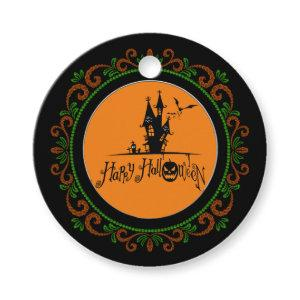 Orange Green Happy Halloween Haunted House Favor Tags