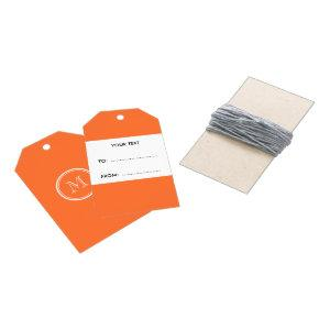 Orange High End Colored Monogrammed Gift Tags