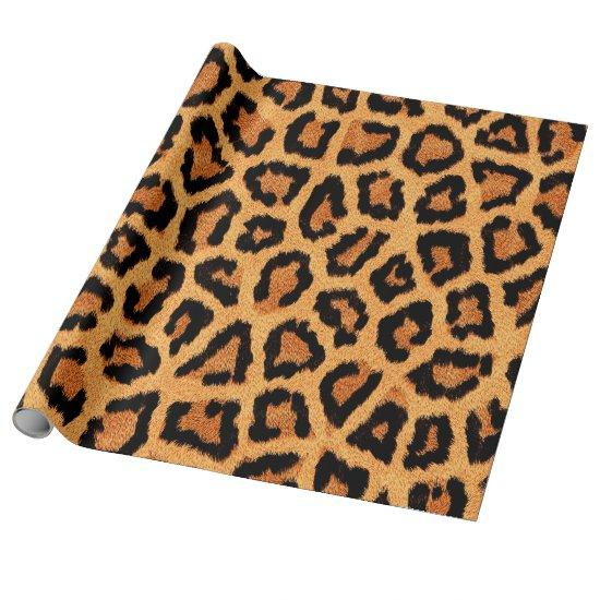 Orange leopard skin print wrapping paper